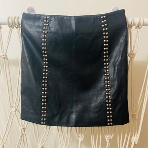 Faux Leather Skirt with Silver Studs